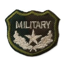 SMALL GREEN MILITARY SHIELD MOTIF IRON ON EMBROIDERED PATCH APPLIQUE